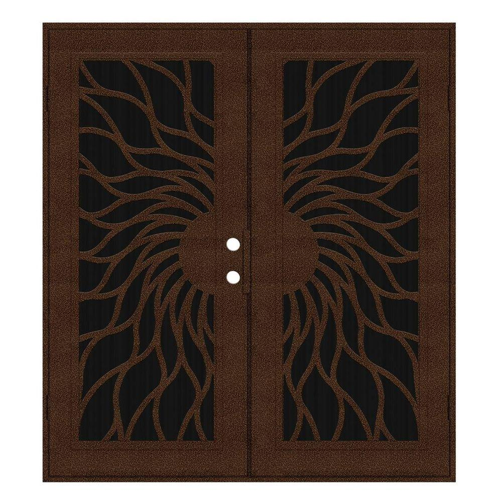 Unique Home Designs 60 in. x 80 in. Sunfire Copperclad Left-Hand Outswing Recessed Mount Aluminum Security Door with Charcoal Insect Screen