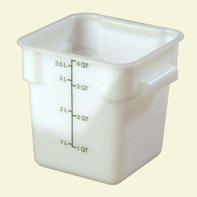 4 qt. Polyethylene Square Food Storage Container in White, Lid not Included (Case of 6)