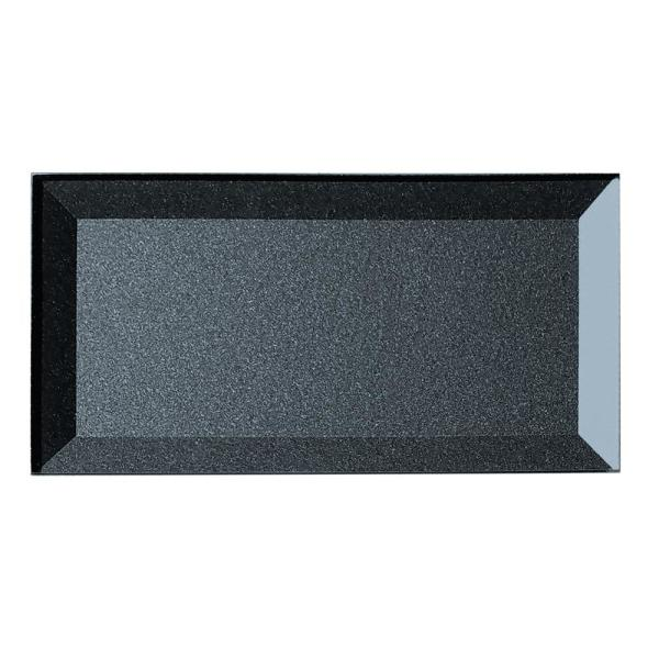 "ABOLOS Subway 3"" x 6"" Metallic Blue Gray Beveled Glossy Glass Peel & Stick Decorative Bathroom Wall Tile Backsplash (8 Pk)"