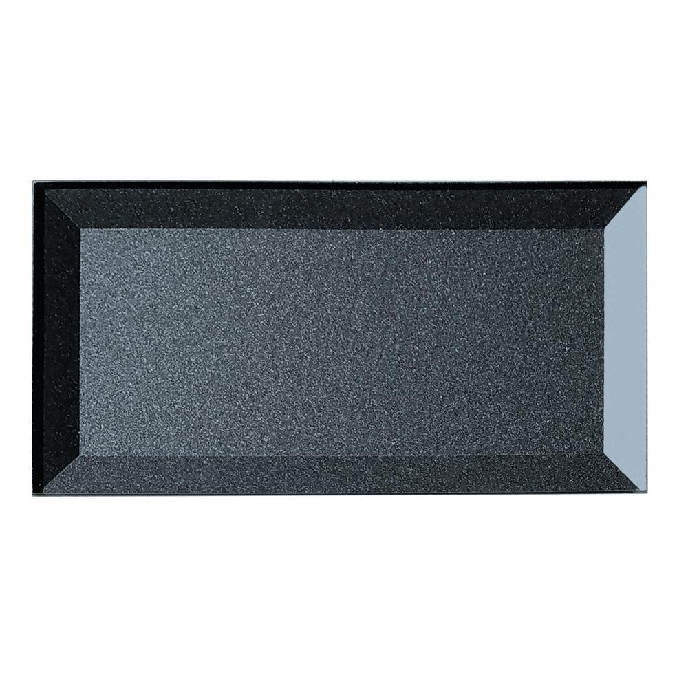 Secret Dimensions 3 in. x 6 in. Blue Gray Glass Beveled