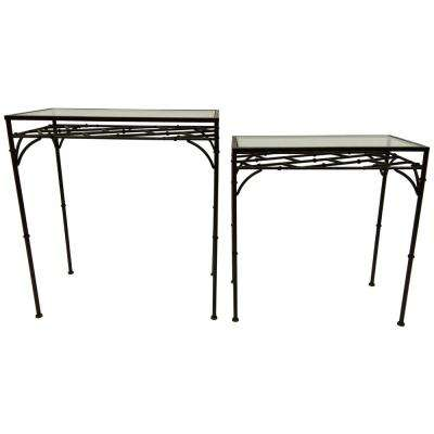 26 in. Black Metal Glass Top Tables (Set of 2)