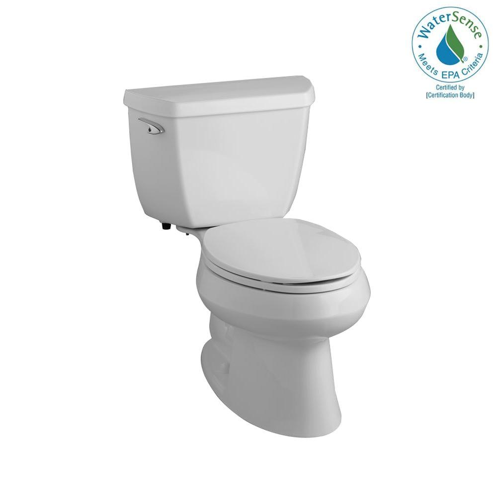 KOHLER Wellworth Classic 2-Piece 1.28 GPF High-Efficiency Elongated Toilet in Ice Grey