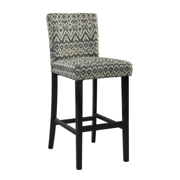 LINON Morocco 24 in. Gray Cushioned Bar Stool