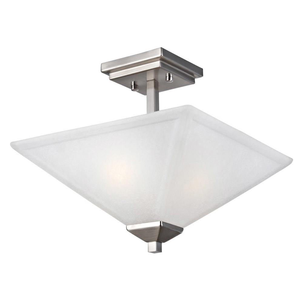Torino 13 in. 2-Light Satin Nickel Semi-Flush Mount Ceiling Light