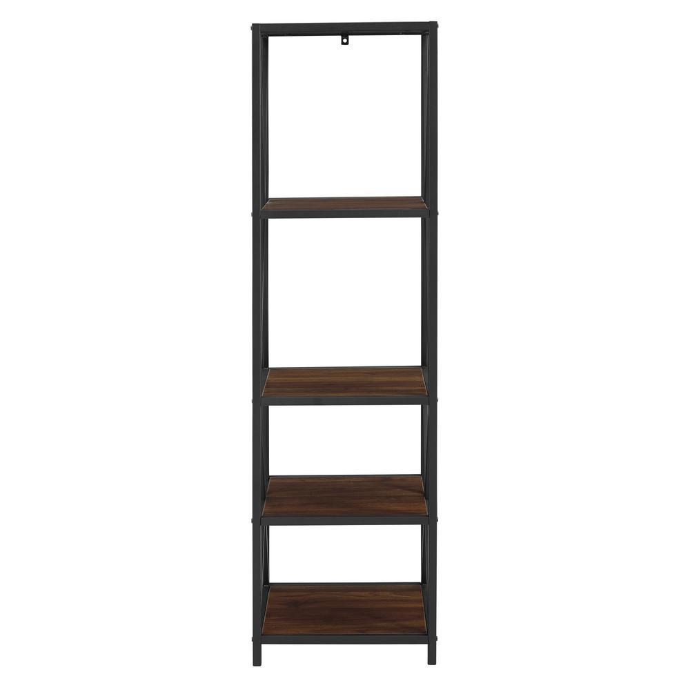 Dark Walnut Metal X Tower with Wood Shelves