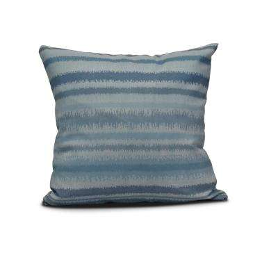 16 in. Raya De Agua Stripe Print Pillow in Blue