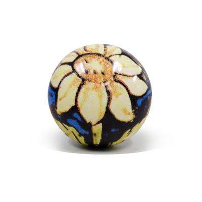 2-Piece Sunflower Ceramic Bottle Stopper Set