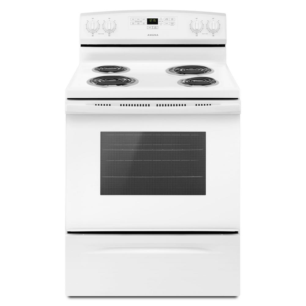 Amana 4 8 Cu Ft Electric Range In White Acr4303mfw The