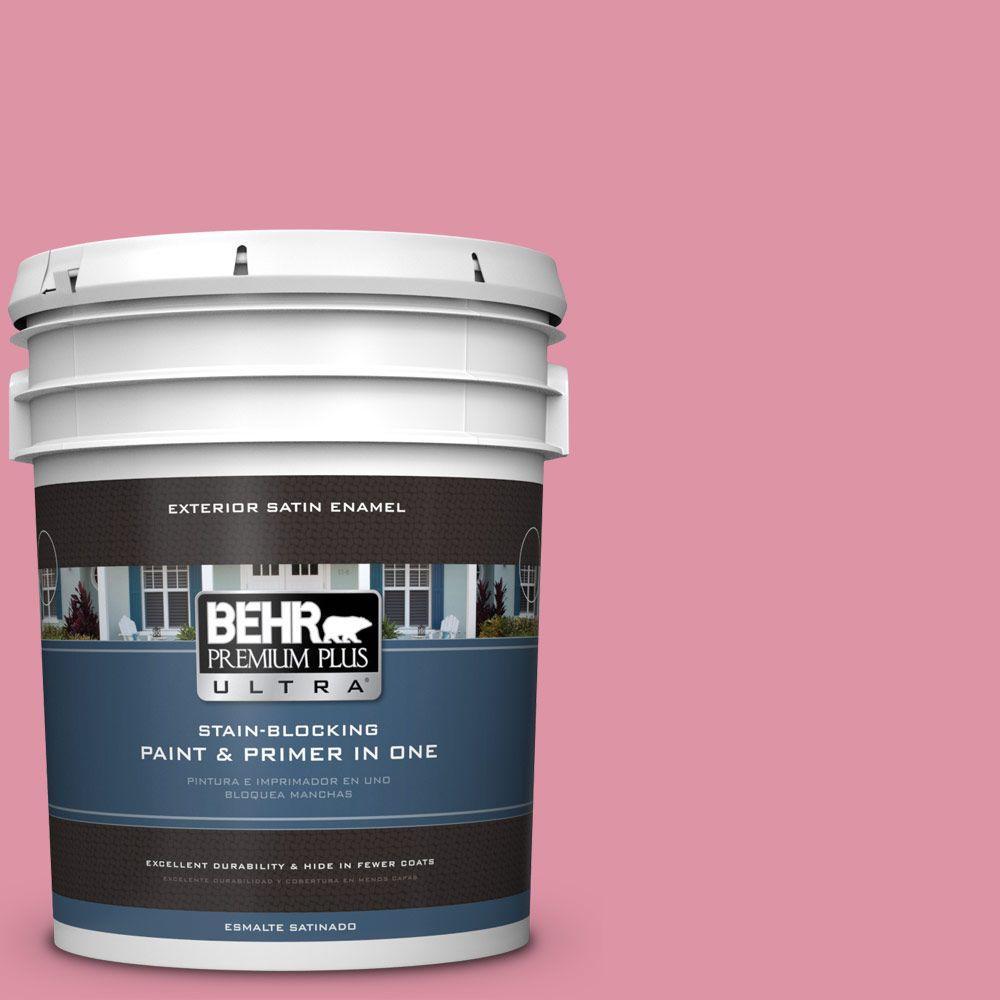 BEHR Premium Plus Ultra 5-gal. #120C-3 Rose Marquis Satin Enamel Exterior Paint