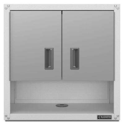 Ready to Assemble 28 in. H x 28 in. W x 12 in. D Steel 2-Door Garage Wall Cabinet with Shelf in White