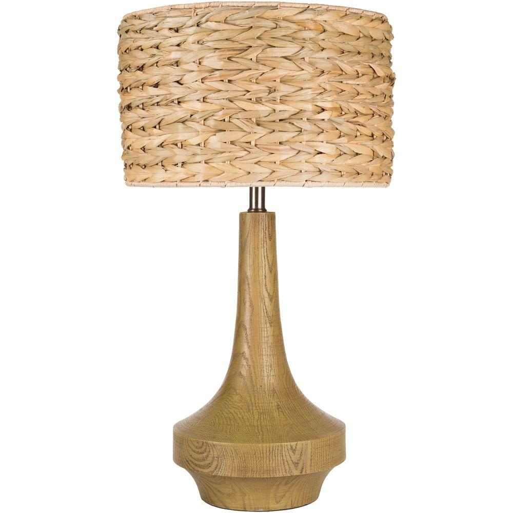 Archibald 26 in. Antiqued Wood Tone Indoor Table Lamp