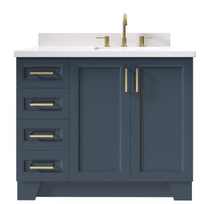 Taylor 43 in. W x 22 in. D Bath Vanity in Midnight Blue with Quartz Vanity Top in White with White Basin