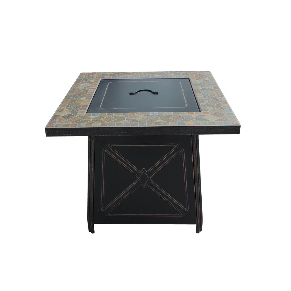 Hampton Bay Crossridge 50,000 BTU Antique Bronze Finish Gas Fire Pit