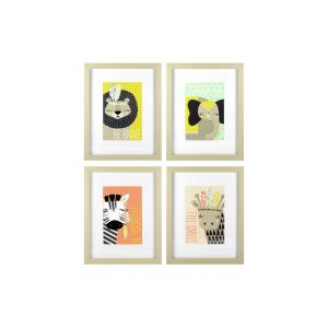 Linden Ave 8 inch x 10 inch Explorer Animals 4-Pack 1-Piece Framed Artwork with Mat by Linden Ave