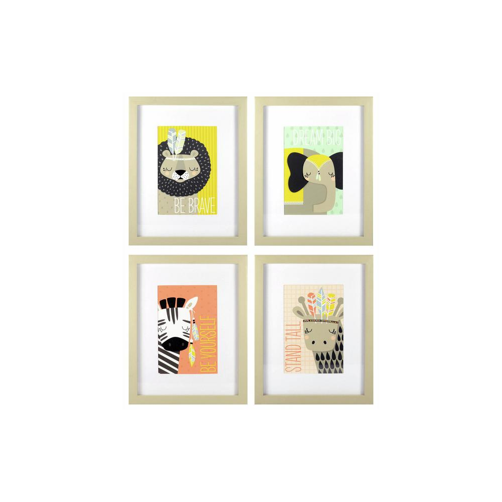 8 in. x 10 in. Explorer Animals 4-Pack 1-Piece Framed Artwork