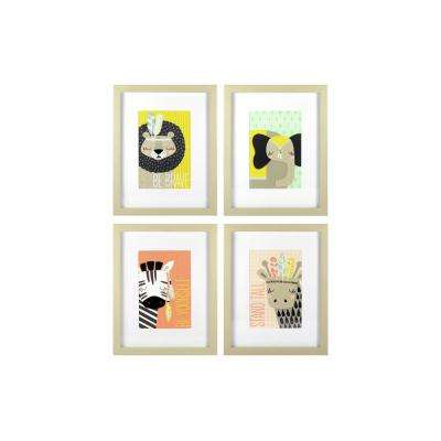 8 in. x 10 in. Explorer Animals 4-Pack 1-Piece Framed Artwork with Mat