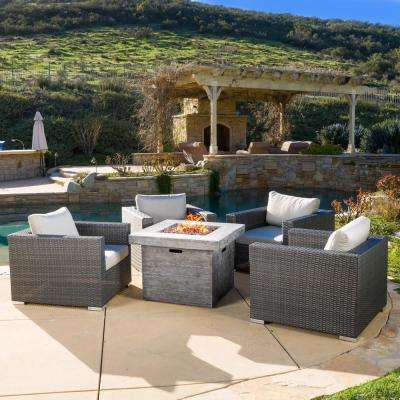 5-Piece Wicker Patio Fire Pit Conversation Set with White Cushions