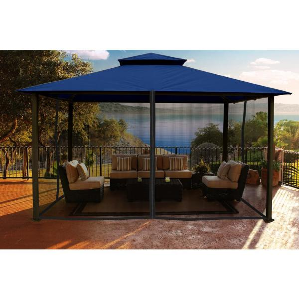 Paragon 11 ft. x 14 ft. Gazebo with Navy Top and Mosquito Netting