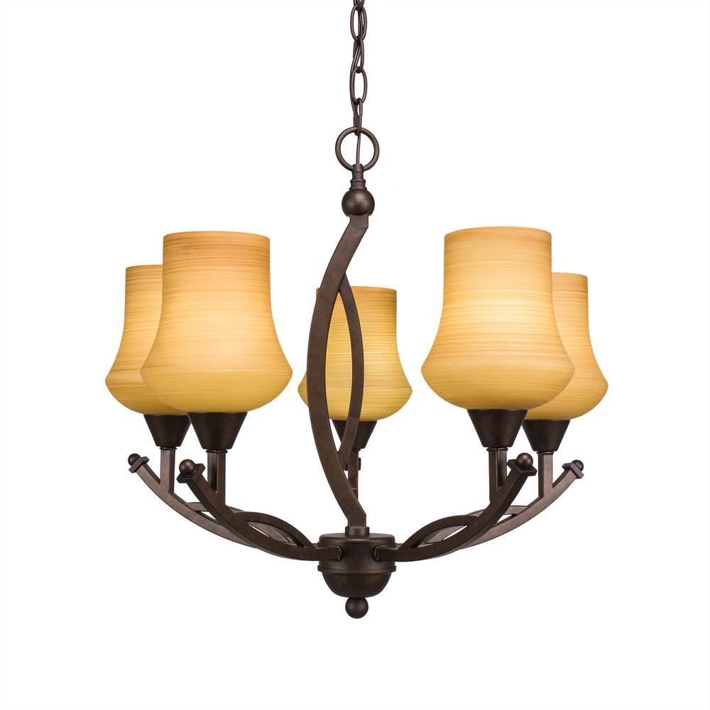 5-Light Bronze Chandelier with 5.5 in. Zilo Cayenne Linen Glass
