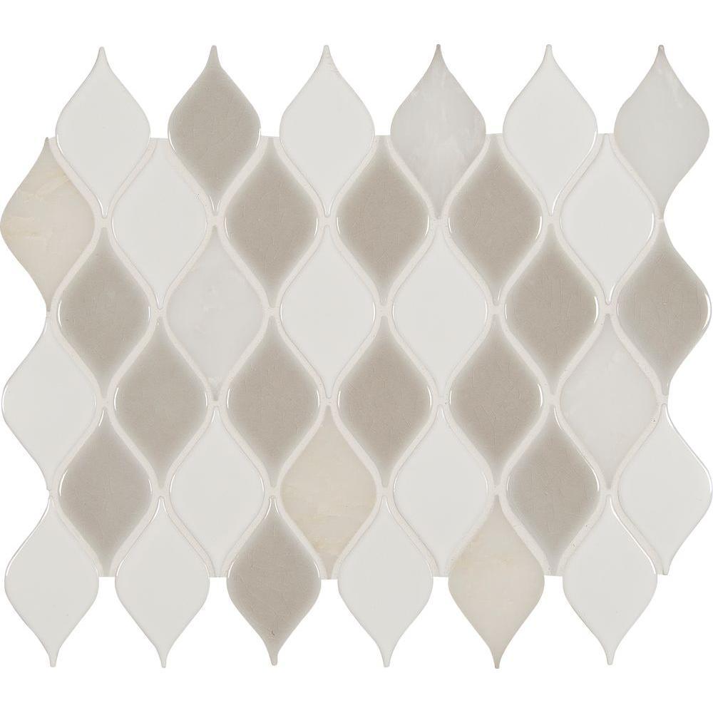 MSI Cresta Blanco Leaf Pattern 12 in. x 12 in. x 8 mm Porcelain Stone Blend Mesh-Mounted Mosaic Tile (10 sq. ft. / case)
