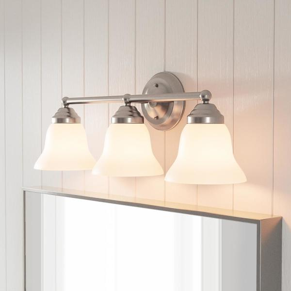 Hampton Bay Ashhurst 3 Light Brushed Nickel Vanity Light With Frosted Glass Shades Egm1393a 4 Bn The Home Depot