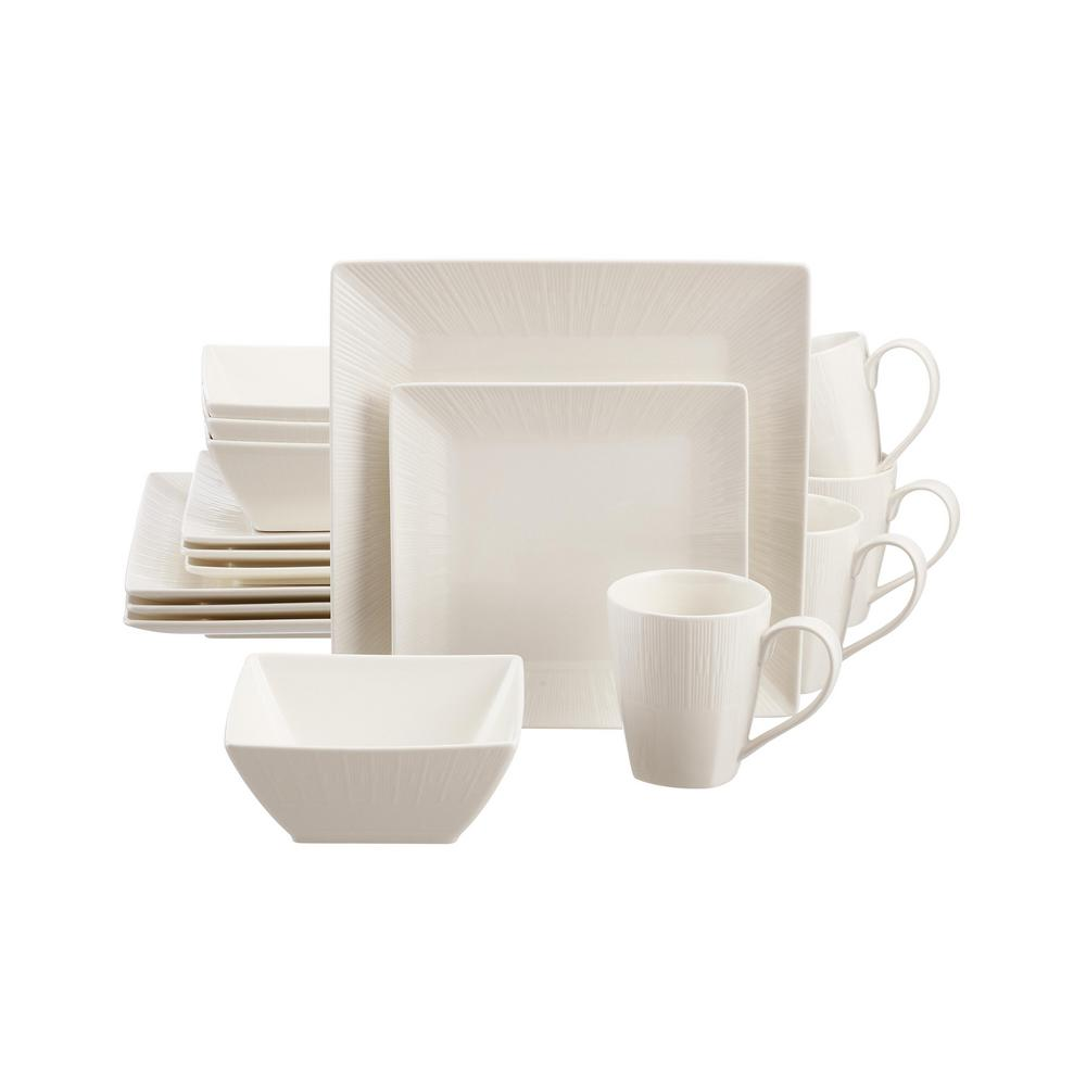 Home Decorators Collection Wellton 16-Piece Square White Porcelain Dinnerware Set (Service for 4) was $59.98 now $25.99 (57.0% off)