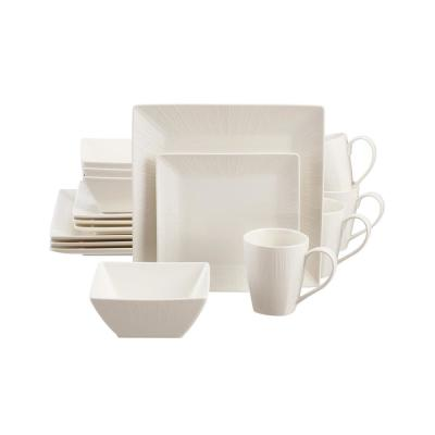 Wellton 16-Piece Square White Porcelain Dinnerware Set (Service for 4)