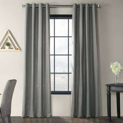 Shadow Grey Solid Country Cotton Linen Weave Grommet Curtain - 50 in. W x 84 in. L