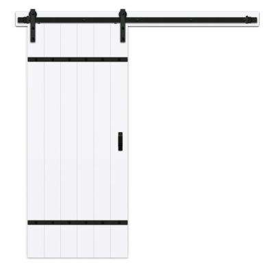 36 in. x 84 in. Easy Build Bright White MDF Barn Door with Sliding Door Hardware Kit