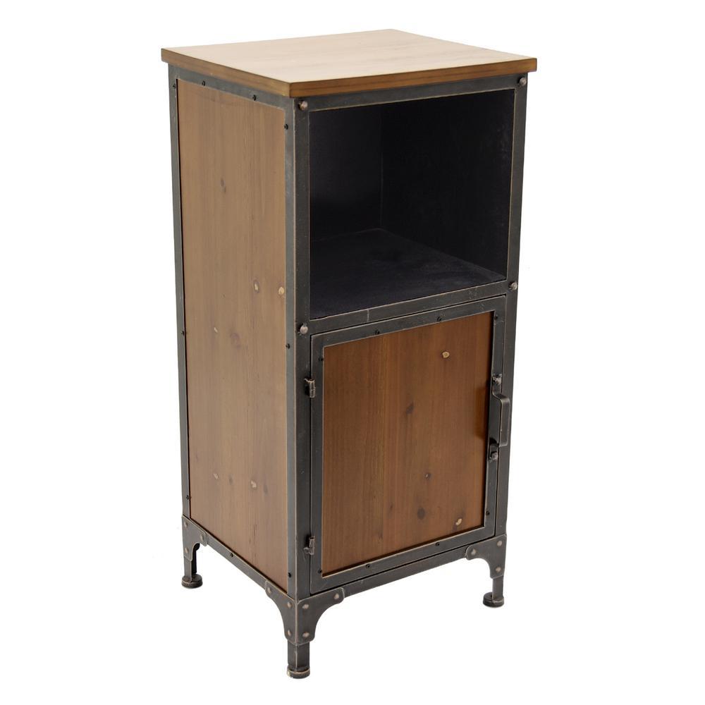 15.5 in. x 13.25 in. Brown Metal/Wood Cabinet - 1-Door