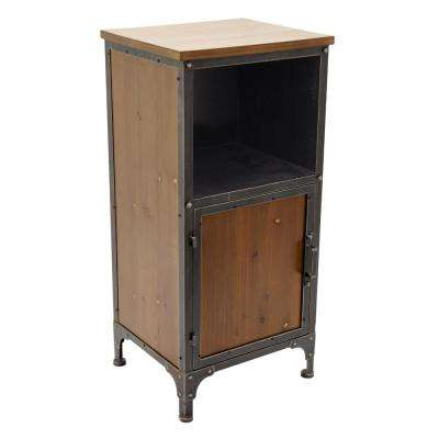15.5 in. x 13.25 in. Brown Metal/Wood Cabinet - 1-Door