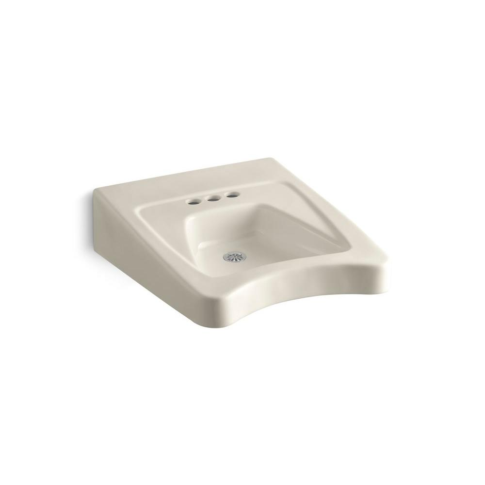 KOHLER Morningside Wall-Mounted Vitreous China Bathroom Sink in Almond with Overflow Drain