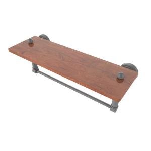 Allied Brass SB-1TB-16-IRW-VB South Beach Collection 16 Inch Solid IPE Ironwood Shelf with Integrated Towel Bar Venetian Bronze