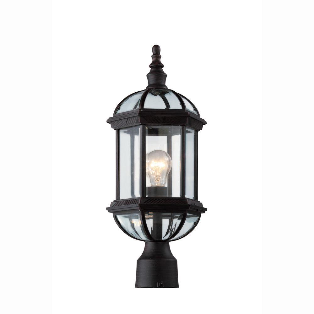 Bel Air Lighting Atrium 1 Light Outdoor Rust Post Top Lantern With Clear Gl