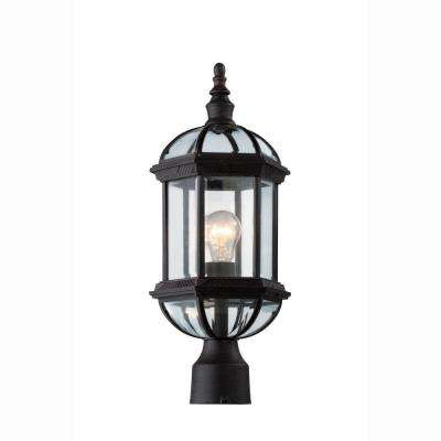 Atrium 1-Light Outdoor Rust Post Top Lantern with Clear Glass
