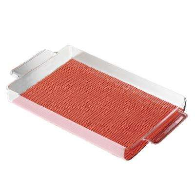 Fishnet Rectangular Serving Tray in Brick