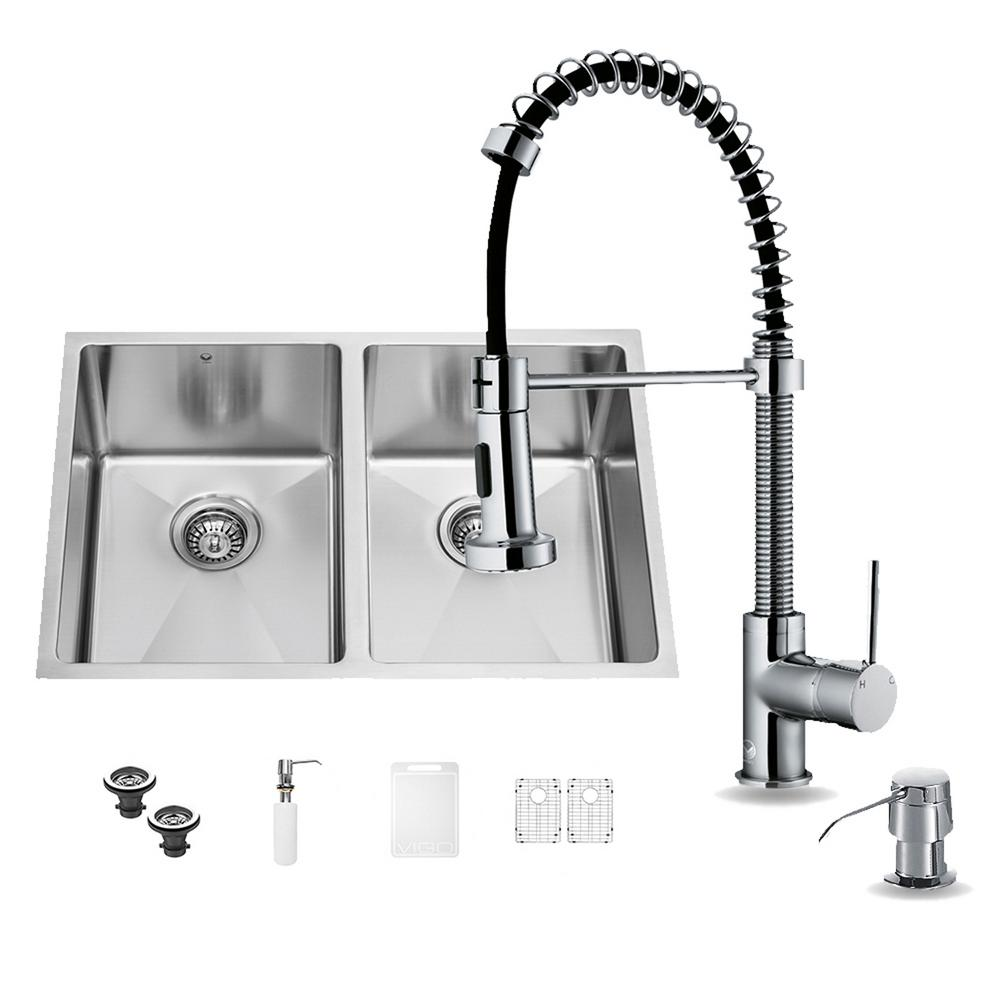 VIGO All-in-One Undermount Stainless Steel 29 in. Double Basin Kitchen Sink with Faucet Set in Chrome