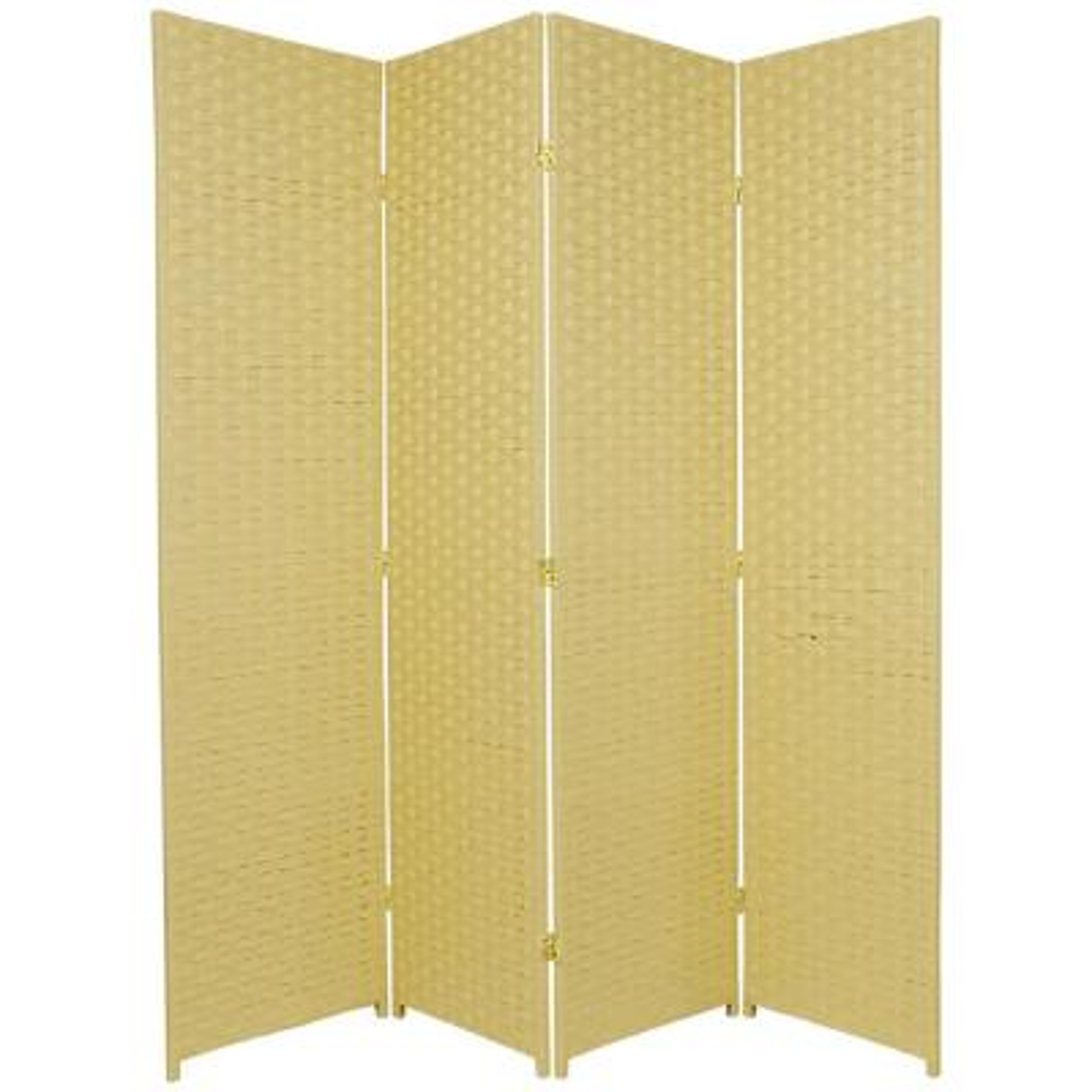 6 ft. Dark Beige 4-Panel Room Divider