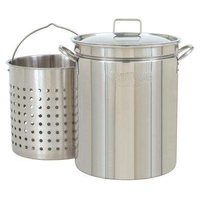 62 qt. Stainless Steel Stockpot with Perforated Basket and Lid