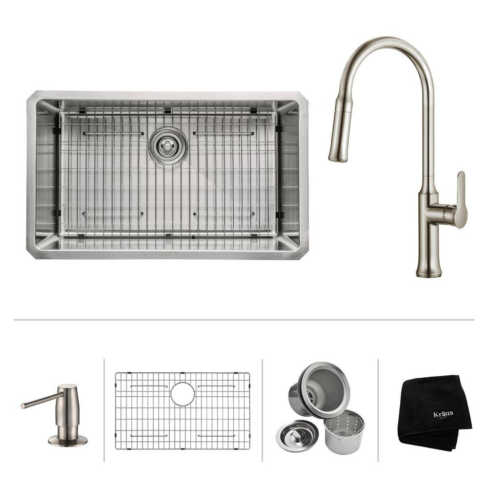All-in-One Undermount Stainless Steel 30 in. Single Bowl Kitchen Sink with