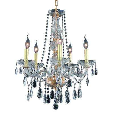 5-Light Gold Chandelier with Clear Crystal