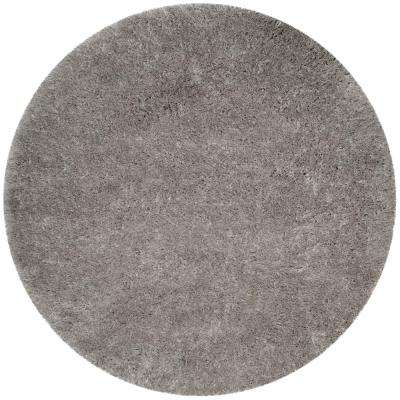 Polar Shag Silver 5 ft. 1 in. x 5 ft. 1 in. Round Area Rug
