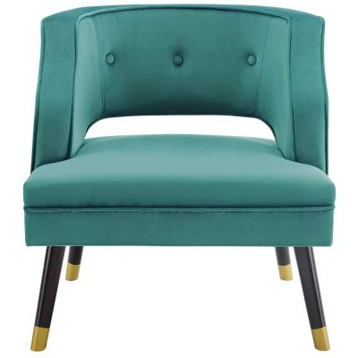 Traipse Teal Button Tufted Open Back Performance Velvet Armchair