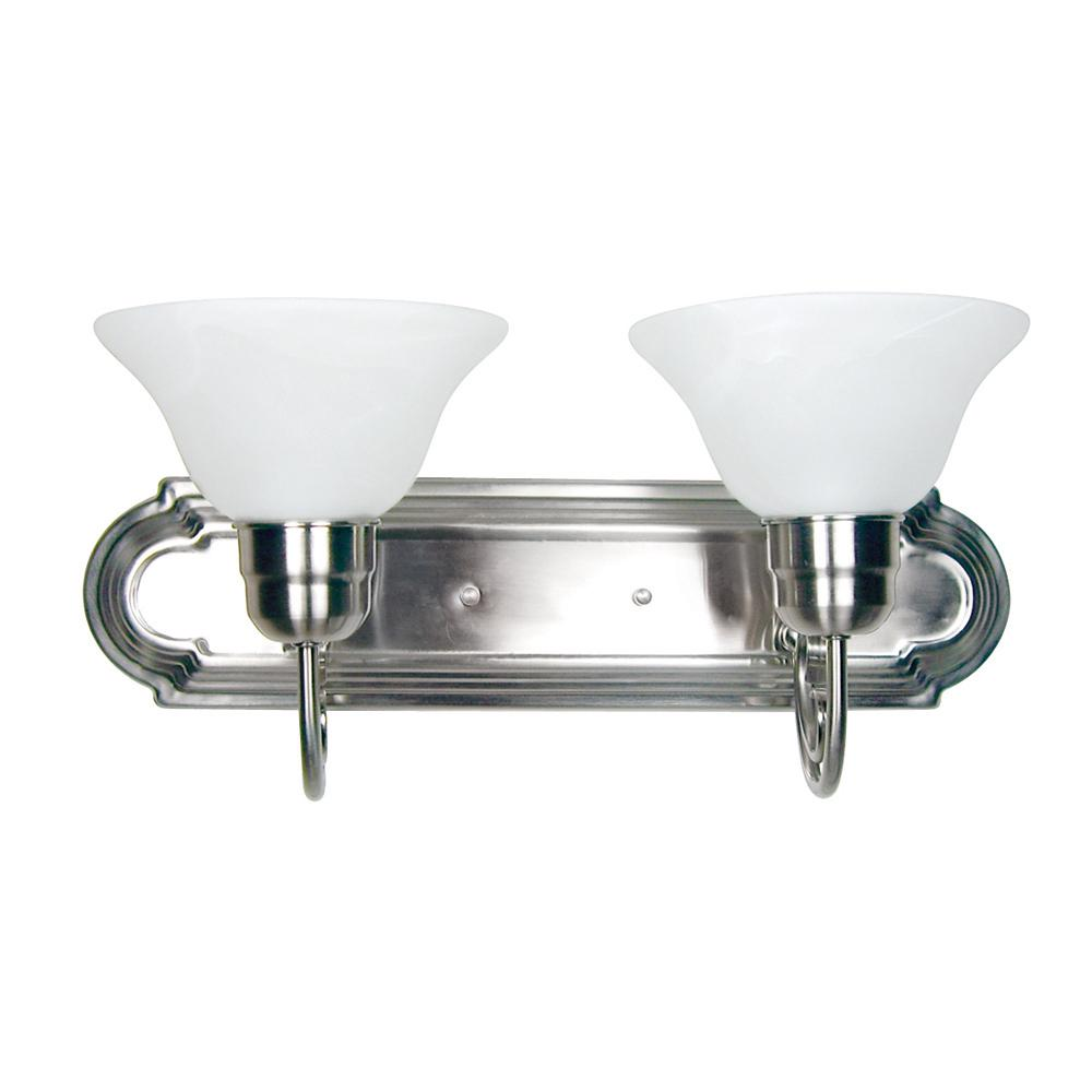Y decor monica 2 light satin nickel bath vanity lighting l4992 2sn the home depot for Bathroom vanity tray satin nickel