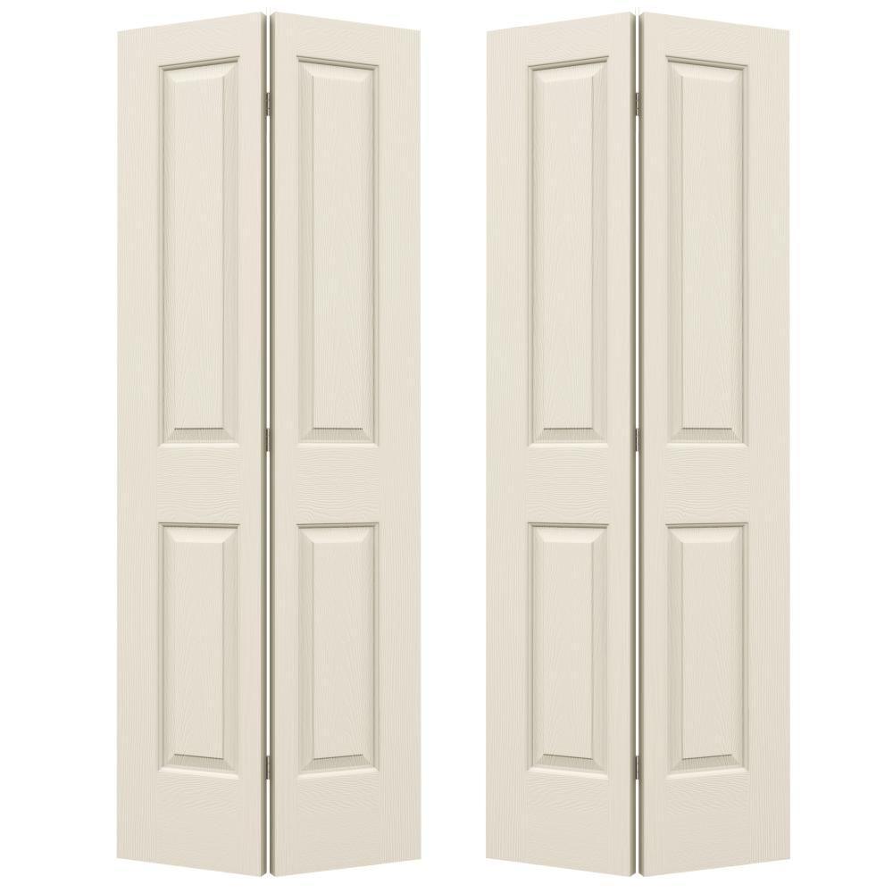 JELD-WEN 36 in. x 80 in. Cambridge Primed Smooth Molded Composite MDF Closet Bi-Fold Double Door -  590333