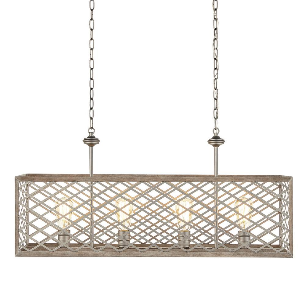 Home Decorators Collection Wallace Manor Collection 35 in. 4-Light Gilded Pewter Linear Chandelier with Interweaving Open Cage Frame