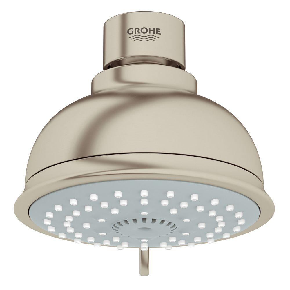 GROHE New Tempesta Rustic 100 4-Spray 4 in. Showerhead in Brushed Nickel InfinityFinish