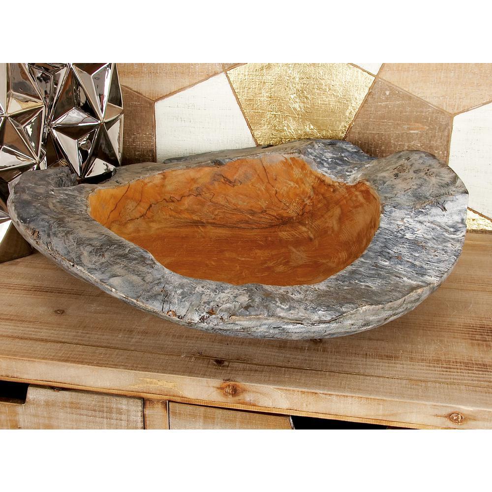 Large Cherrywood Brown Decorative Teak Bowl
