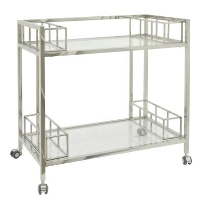 30.25 in. Silver Metal/Glass Bar Cart