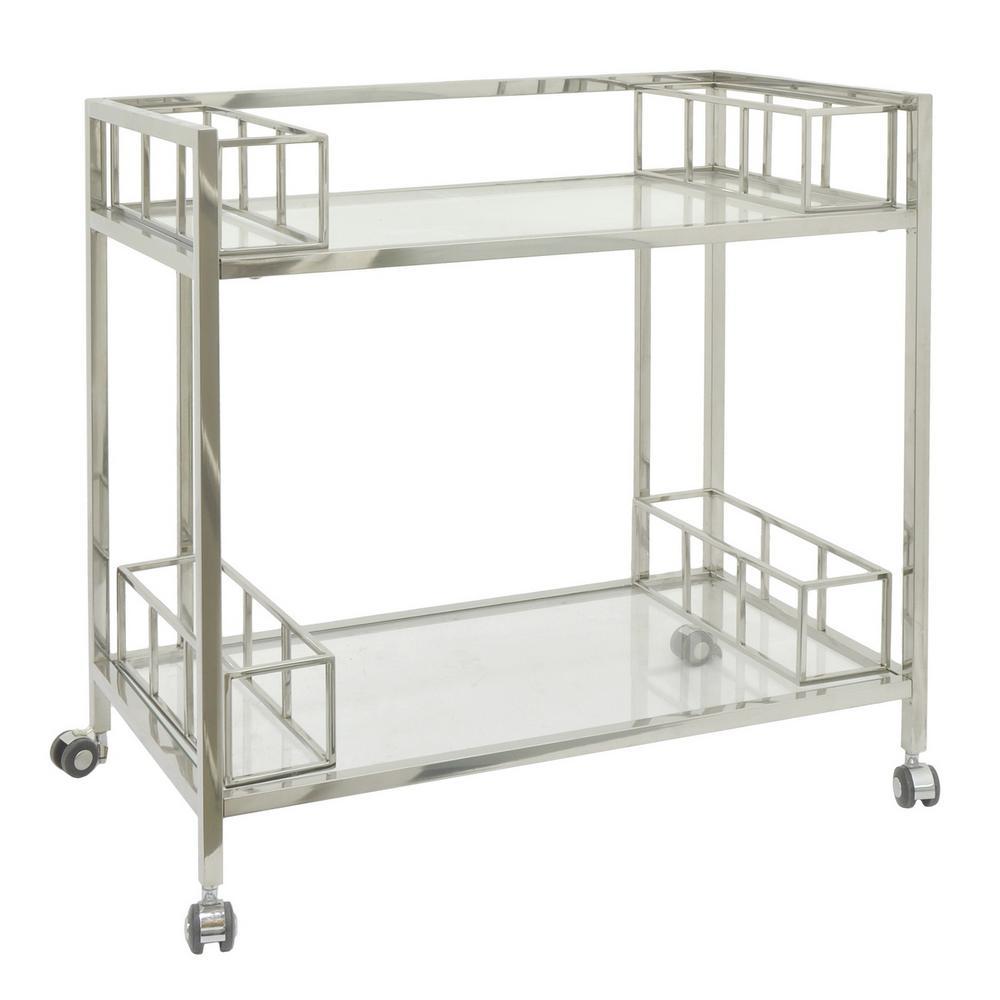 THREE HANDS 30.25 in. Silver Metal/Glass Bar Cart